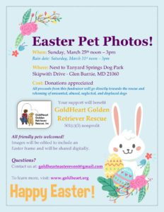 EASTER PET PHOTO GOLDHEART FUNDRAISER @ Next to Tanyard Springs Dog Park | Glen Burnie | Maryland | United States